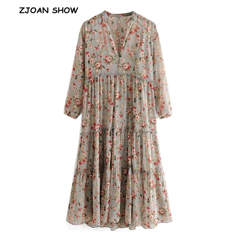 2019 Women Button V Neck Flower Print Long Sleeve Dress Splice Wood Ears Ruffles Floor Length Long Dresses With Lining Vestido