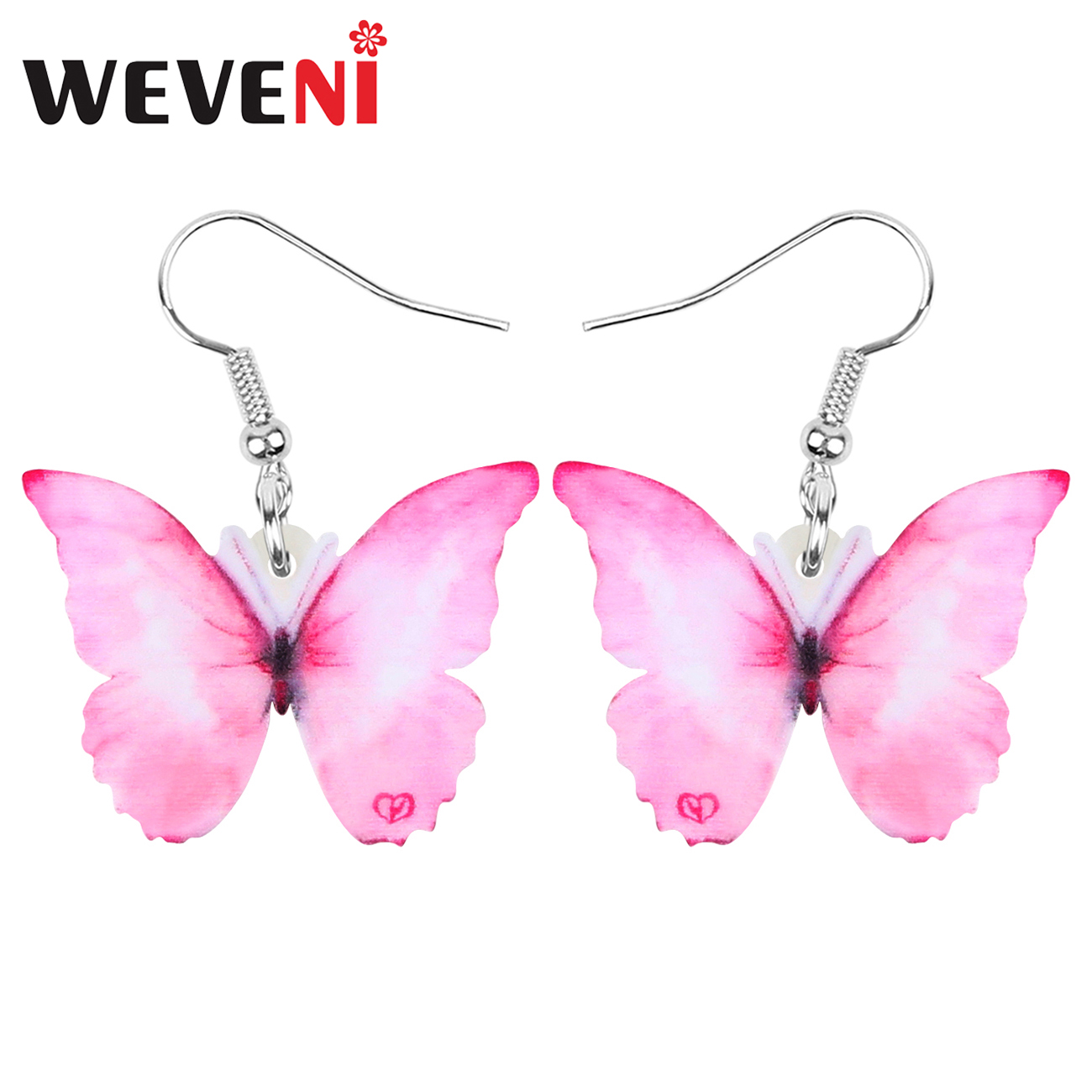WEVENI Acrylic Morpho Butterfly Insect Earrings Big Printing Animal Dangle Drop For Women Girls Kids Spring Fashion Gift Jewelry