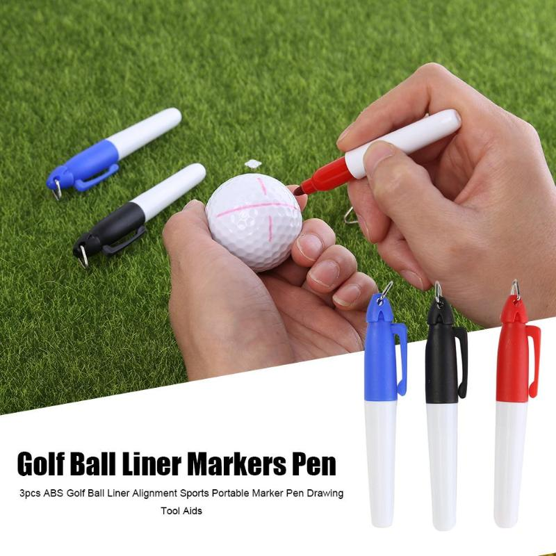 Durable Markers Pen Multi-function 3pcs Sign Plain Putting Alignment Golf Ball Liner Marker Pen Drawing Tool Aids