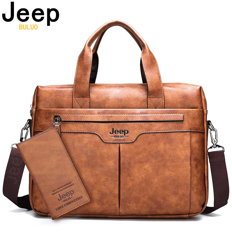 JEEP BULUO Brand Large Capacity Office Briefcase Bag For Man Business Men Leather Handbag Travel Shoulder Bags 14inch Laptop New