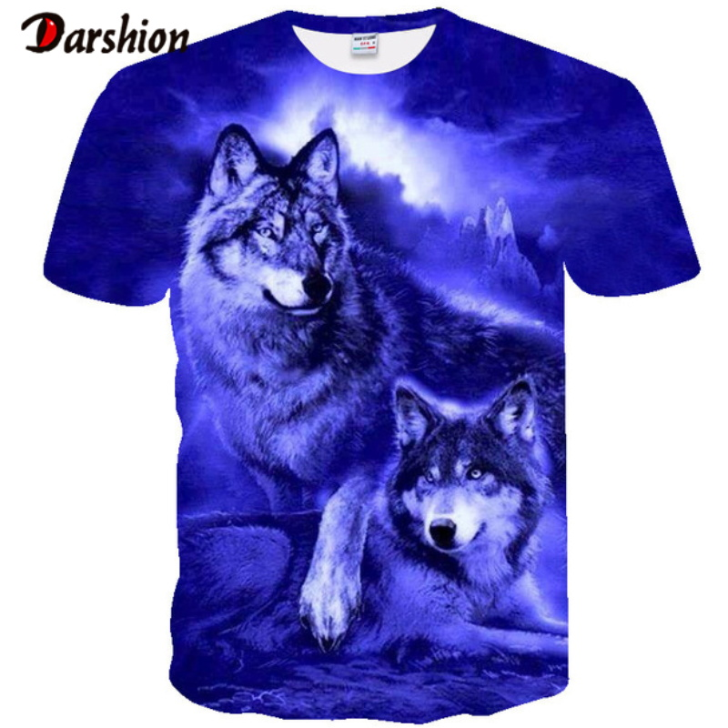 Summer New Men's T-Shirt Brand Short Sleeve Personalized 3D Star Sky Canopy Fluorescent Wolf Novelty T-shirt Cool Male T-Shirts