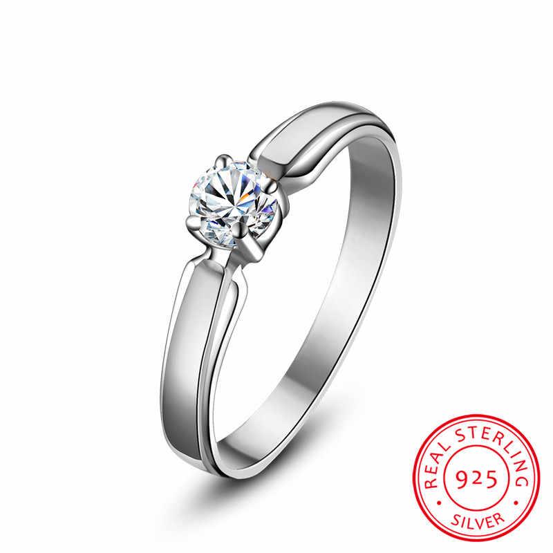 יוקרה נקבה קטן עגול אבן טבעת אמיתי 925 כסף סטרלינג אירוסין טבעת קריסטל סוליטייר חתונת טבעות לנשים