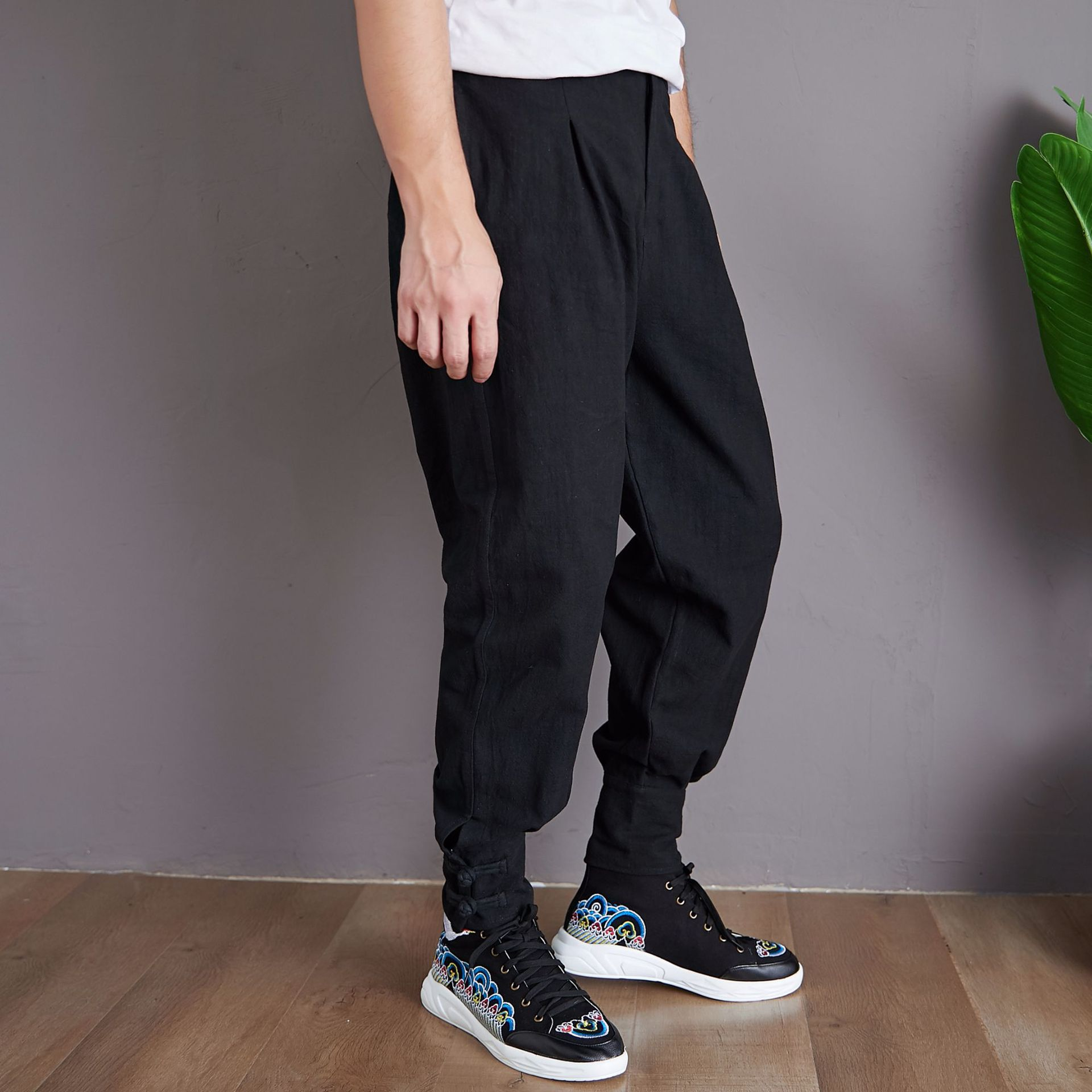 Autumn New Products Frog Skinny Pants Retro Chinese-style Ramie MEN'S Casual Pants Solid Color Button Down Loose Style