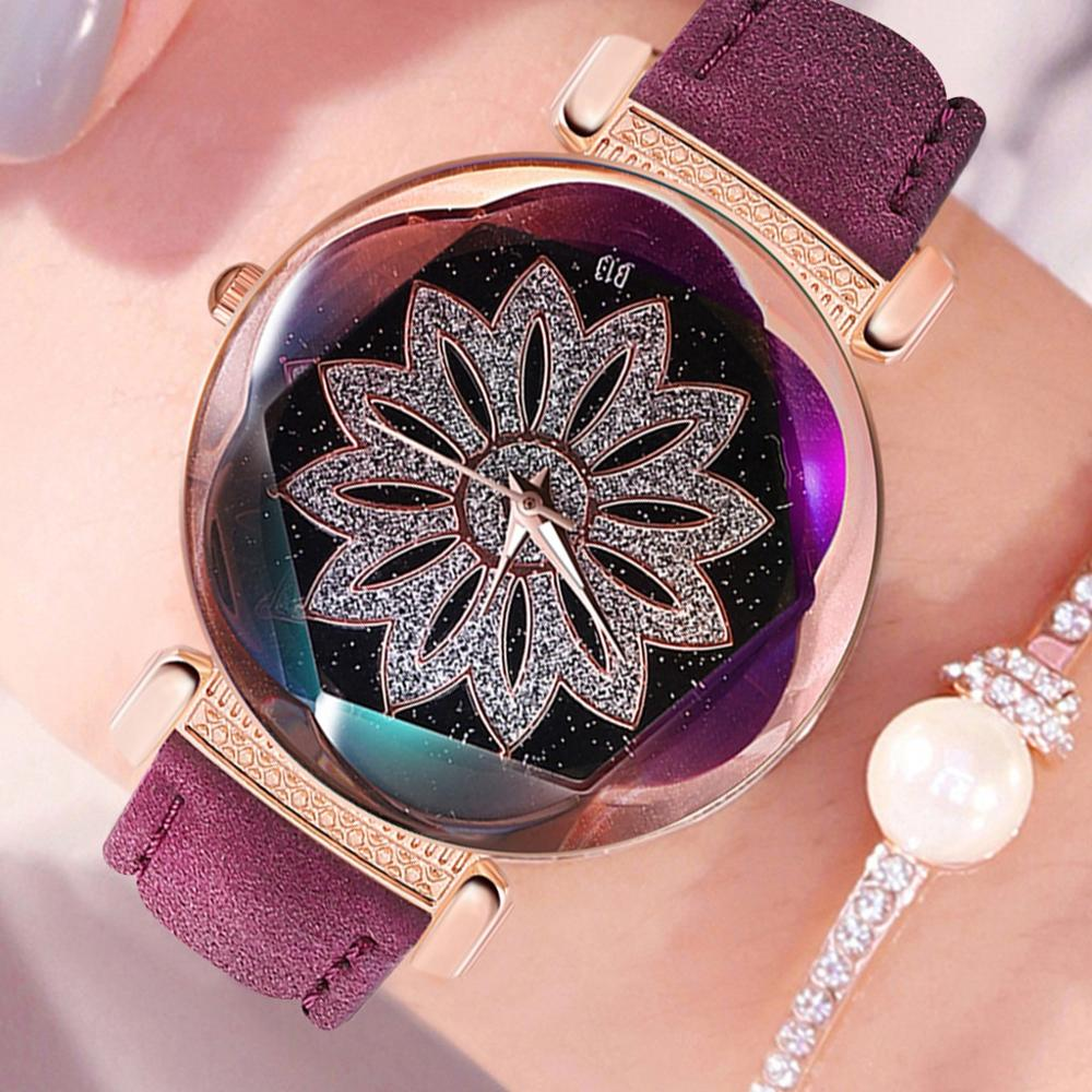 2020 New Hot Sale Luxury Watches Quartz Watch Stainless Steel Casual Bracelet Watch Starry Sky Dial Leather Ladies Reloj Mujer