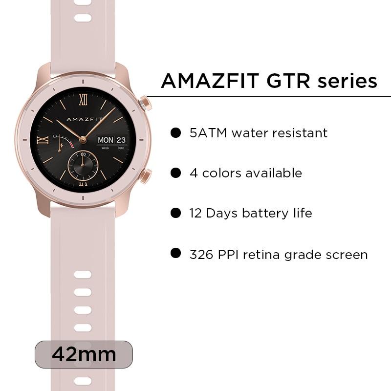 En existencia versión Global nuevo reloj inteligente Amazfit GTR 42mm reloj inteligente 5ATM 12 días batería Control de música para Xiaomi Android IOS - 3