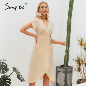 Image 5 - Simplee Sexy v neck women wrap dress Casual solid button female summer dress Elegant ladies cotton spring a line work midi dress