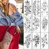 Sketch Sexy Flower Temporary Tattoo Women Body Art Painting Arm Leg Tattoo Sticker Realistic Fake Black Rose Waterproof Tattoo