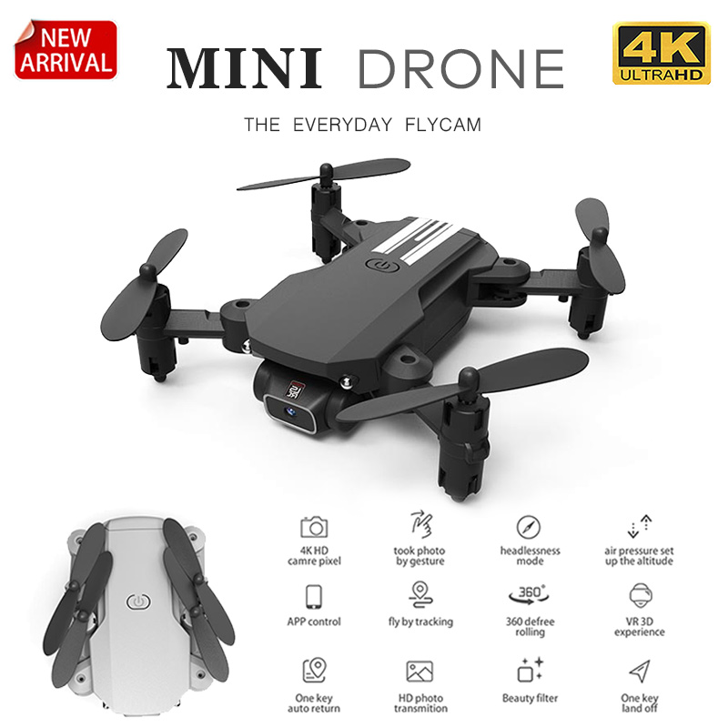 XKJ 2020 New Mini Drone 4K 1080P HD Camera WiFi Fpv Air Pressure Altitude Hold Black And Gray Foldable Quadcopter RC Drone Toy 1