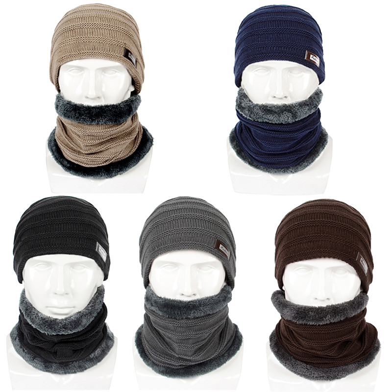 Winter Warm Hat Scarf Set Unisex Men Women Scarves Knitted Fur Ski Caps Hat Beanie 2PCS Thick Scarves Caps Beanies 2019 Fashion