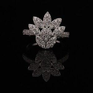 Image 5 - תכשיטי קולר סט HADIYANA פרח צורת נשים חתונה מסיבת שרשרת עגילי טבעת וצמיד סט זירקון CNY0088 Bisuteria