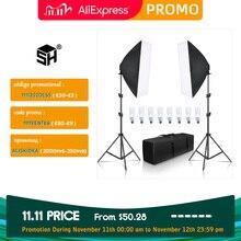 SH Softbox aydınlatma kiti 50x70cm fotoğrafçılık sürekli ışık kutusu fotoğraf stüdyosu için 8 adet E27 soket aydınlatma ampülleri