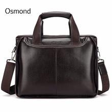 Osmond Genuine Leather Men Briefcase Casual Business Man Shoulder Crossbody