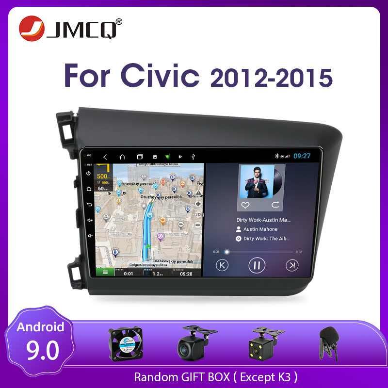 JMCQ Android 9.0 Car Radio For Honda <font><b>Civic</b></font> 2012-2015 Multimedia Video Player Stereo 2 Din Split Screen Floating window Head Unit image