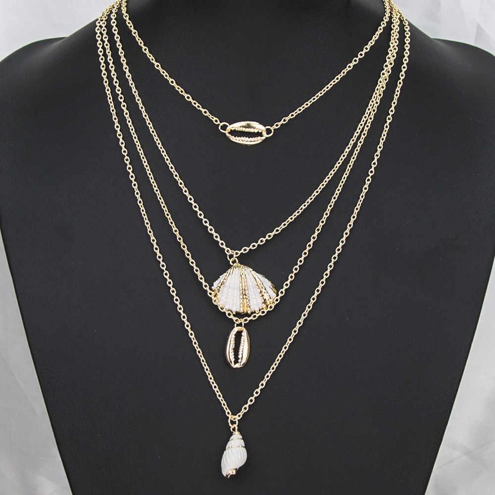 בוהמי Cowrie קונכייה תליון שרשרת לנשים אופנה אוקיינוס ים חוף שרשראות Boho תכשיטי פגז