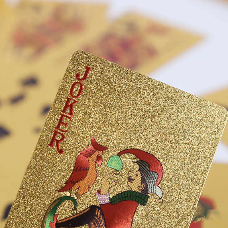 Unterhalten Goldene Spielkarten Deck Von Goldfolie Poker Set Magie Karten 24K Gold Kunststoff Folie Poker Durable Wasserdicht karten