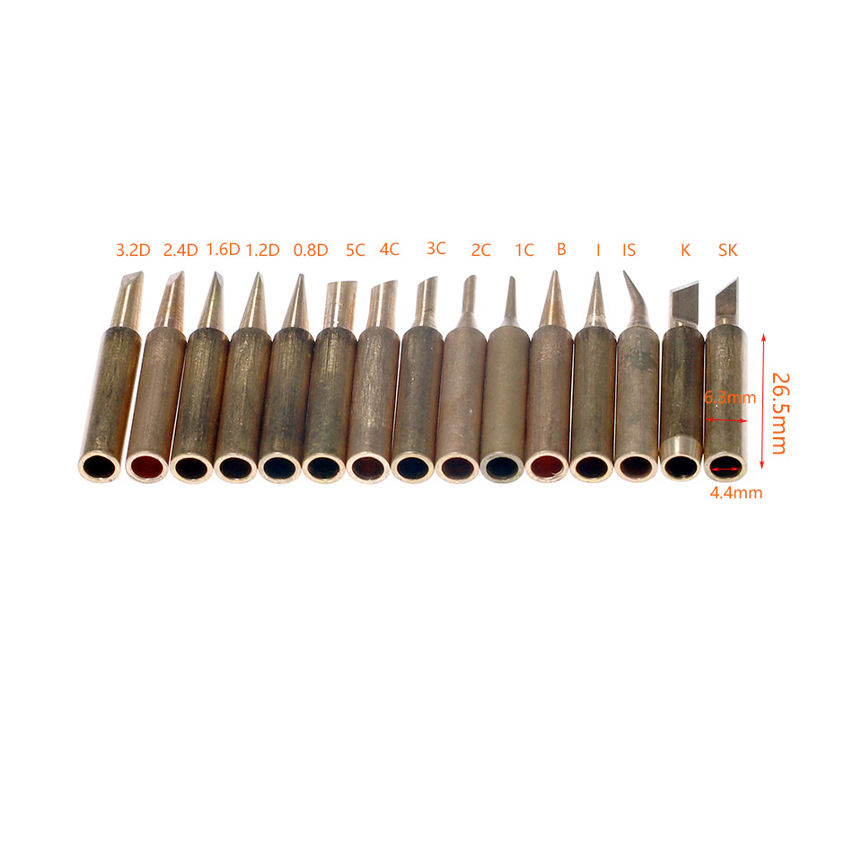 10pcs/Set 900M-T Electric Soldering Tip Pure Copper Iron Head Series Welding Solder Head Tool  Electric Iron Head Tool Kits