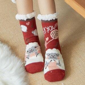 Image 1 - Mignon mouton dessin animé dames chaussettes hiver épais chaud chaussettes de sol doux respirant sommeil chaussettes nouvel an exquis cadeau chaussette de noël