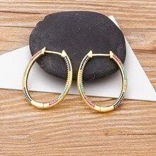 2020 nuevo diseño de cobre de moda pendientes de aros de circón para mujeres de gran círculo del arco iris de la joyería mejor fiesta de Navidad de la boda de regalo