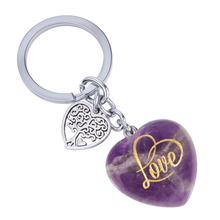 TUMBEELLUWA Carved Love Heart Stone Keychain for Lover Gift Healing Crystal Tree of Life Charms Lucky Car Key Ring Jewelry 3.3''