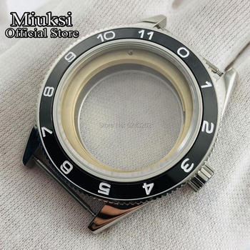 Miuksi 41mm silver case sapphire glass ceramic bezel watch case fit ETA 2836,Mingzhu DG2813/3804,Miyota 82 series movement