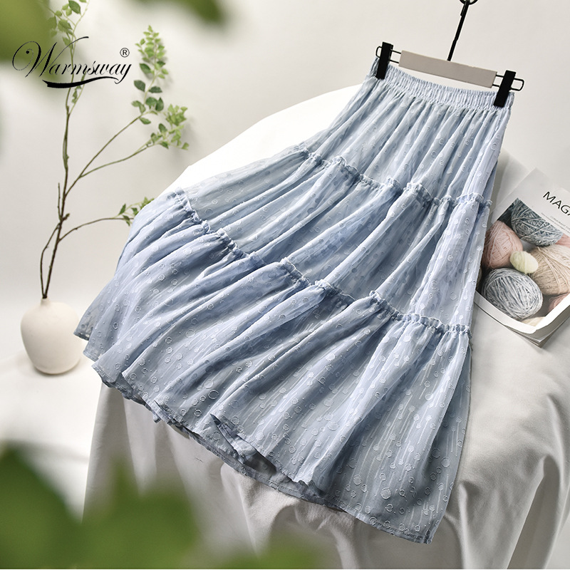 Fashion Solid Color Summer 2020 New Long Patchwork Skirts Womens Casual Loose Skirt High Waist Elascity Party Skirt CY-144