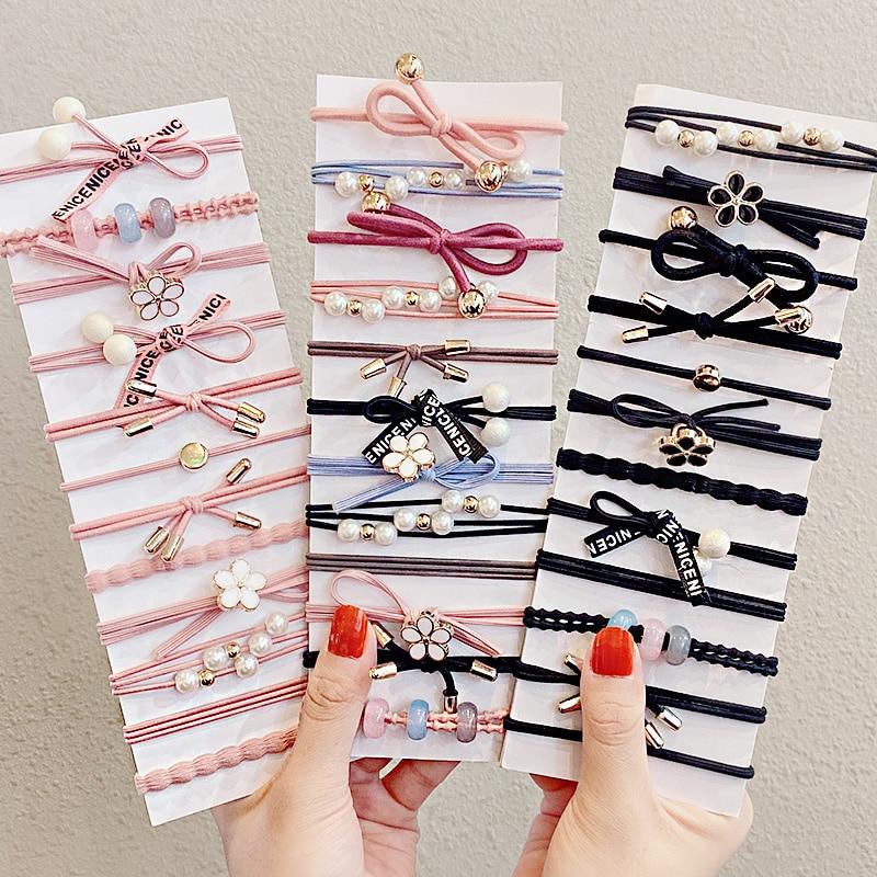 5/8PCS/Set New Women Girls Elegant Flower Pearls Bow Elastic Hair Bands Sweet Scrunchie Headband Rubber Bands Hair Accessories