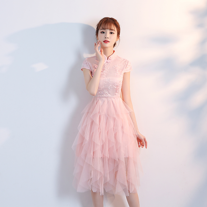 Plus Size Tulle Pink Bridesmaid Dress Ball Gown Dress Knee-Length Women Wedding Party Dress Elegant Simple Eve Prom Sexy Vestido