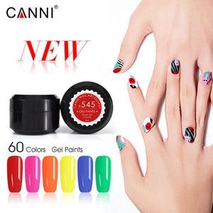 Image 2 - CANNI Gel de peinture pour ongles, 60 pièces/lot, Gel de laque, plastique, pot de 5ml, 60 pièces/lot, peinture UV LED Nail Art, séchage rapide, Pure à paillettes