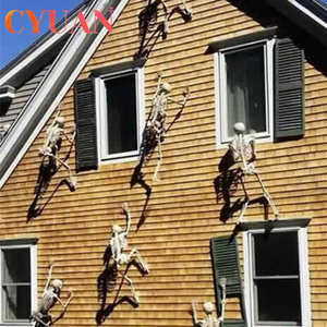 CYUAN Scary Halloween Decoration Halloween Props Luminous Hanging Decor Outdoor Party Horror Luminous Movable Skull Skeleton