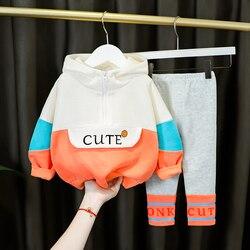2021 quente infantil bebê menina hooeded roupas casuais conjunto primavera carta topo cor sólida calças compridas 1 2 3 4 anos