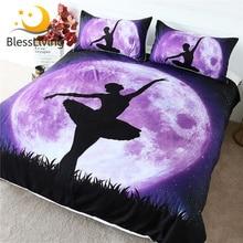 BlessLiving Ballet Bedding Set Giant Purple Moon Duvet Cover Dancing Girl Bedspread Galaxy Night Sky Elegant Bed Set 3pcs Queen