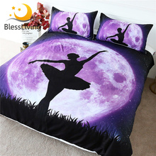 Blesslivingバレエ寝具セット巨大なパープルムーン布団カバーダンス女の子銀河夜空エレガントなベッドセット 3 個女王