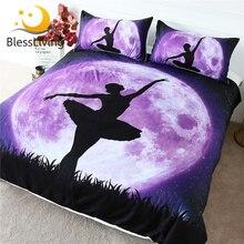 Blesslliving Juego de ropa de cama de Ballet, edredón gigante de Luna púrpura, cubrecama de baile para niña, juego de cama elegante con Galaxia y cielo nocturno, 3 uds.