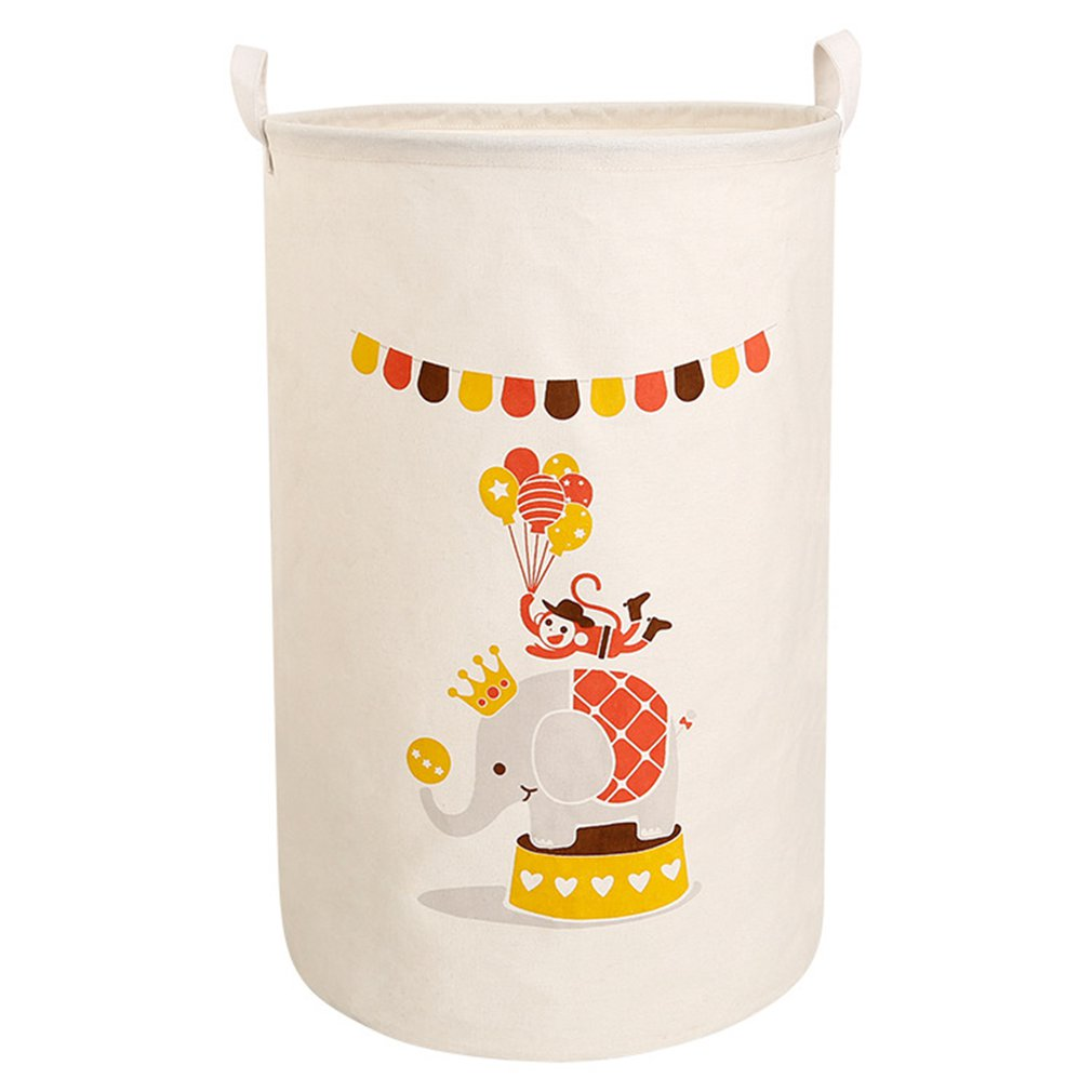 Japan large cartoon storage barrel cotton linen folding laundry basket home toys sundries storage basket|Laundry Bags| |  - title=