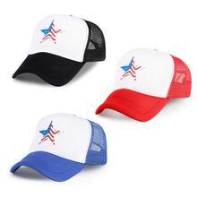 Men America Flag Baseball Caps Five-pointed Star Printed Snapback Hats Women Black Blue Red Cotton Sport K Pop Cap Trump Hat