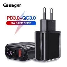 "Essager LED תצוגת USB מטען עבור iPhone Xiaomi mi מהיר תשלום 3.0 USB סוג C פ""ד QC QC3.0 מהיר טעינה טלפון נייד מטען"