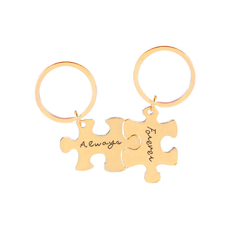2 ชิ้น/เซ็ต Classic Silver Letter พวงกุญแจคุณภาพสูง I Love you Heart Key Chain พวงกุญแจคู่แฟชั่นเครื่องประดับวาเลนไทน์ของขวัญ