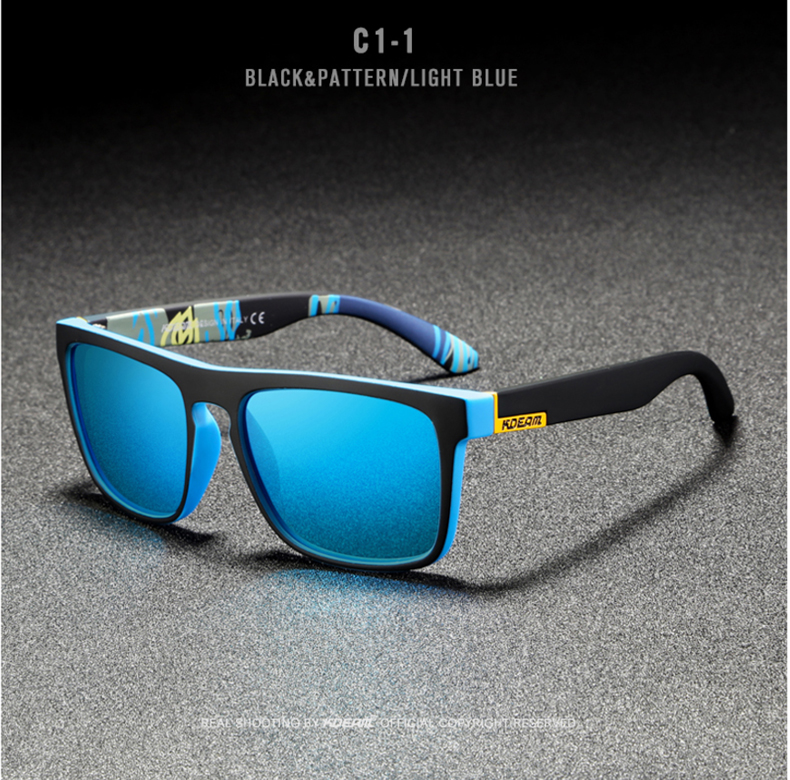 H8dbac57fe0d347a0998ea7c8e9d1a278U - New KDEAM Mirror Polarized Sunglasses Men Ultralight Glasses Frame Square Sport Sun Glasses Male UV400 Travel Goggles CE X8