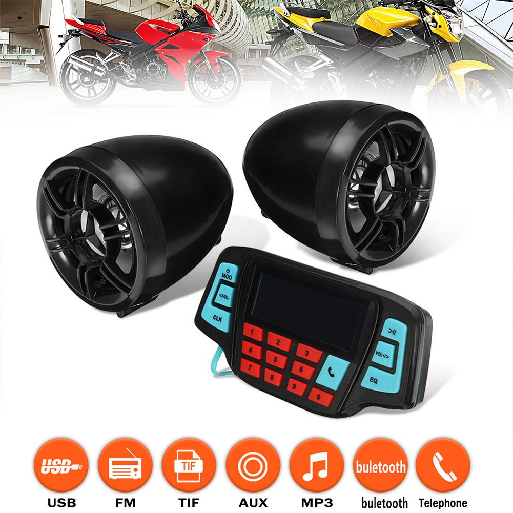 LCD Motorcycle Handlebar Speaker Anti-theft Audio System Bluetooth USB FM Radio