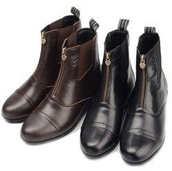 Botas ecuestres de piel de vaca, botas de caballero, botas de barrera para hombres y mujeres, botas de montar transpirables para niños y niñas