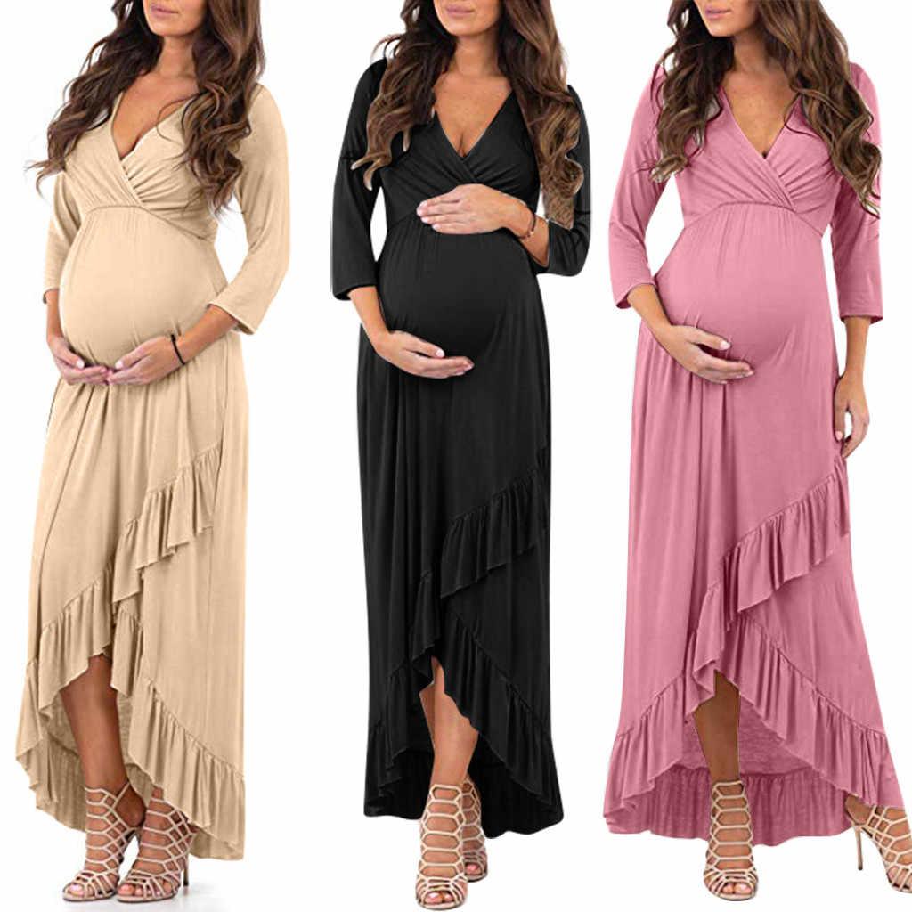 Women Maternity Dresses Ruffles Long Sleeve V Neck Solid Pregnant Dress Summer Irregularity Pregnancy Dress Vestido Mujer Dresses Aliexpress