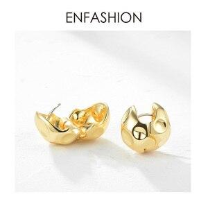 Image 3 - ENFASHION Punk Fußball Hoop Ohrringe Für Frauen Gold Farbe Kleine Kreis Ball Geschmolzenen Hoops Ohrringe Modeschmuck Aros E191103