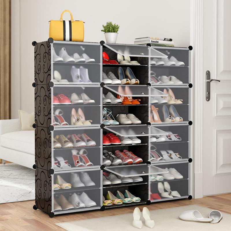 8 Layers 12 Doors Plastic Wardrobe Shoe Rack Home Dustproof Modular Closet Furniture Cabinet Door Spacesaving Shoe Organizer HWC
