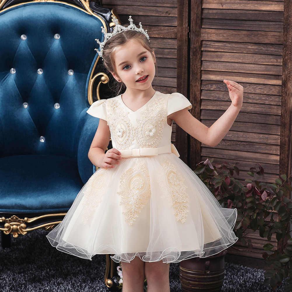 זה YiiYa פרח ילדה Dresse אלגנטי הדפסת O-צוואר בנות תחרות שמלות Apliques קצר טנק Vestidos דה נוצ 'Para Ninas 191
