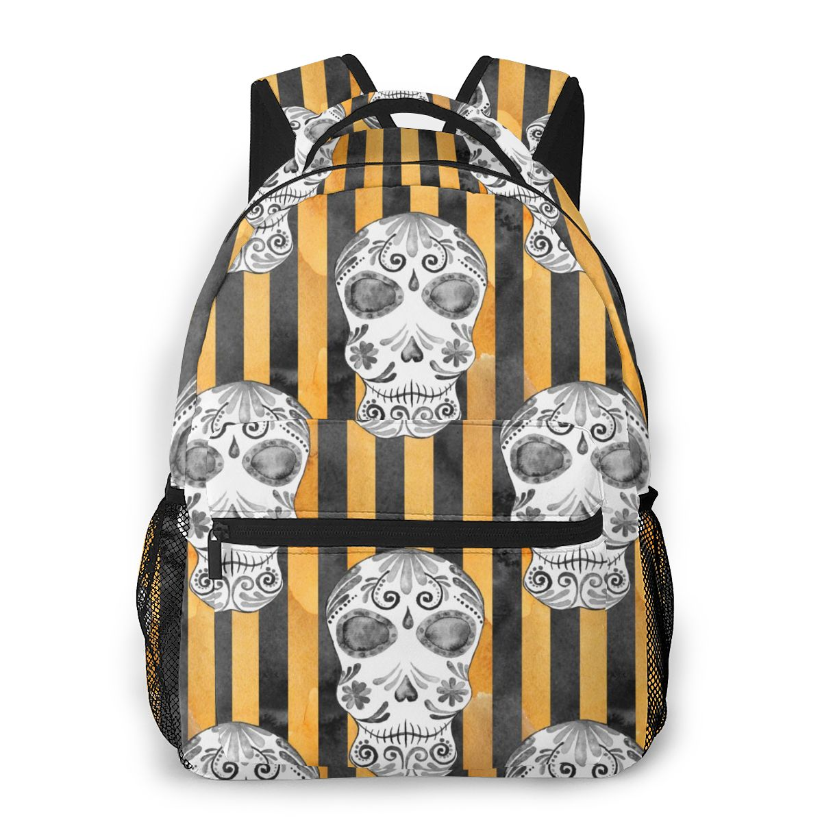 Skull Head Stripe Print Casual Daypack Travel School Bag With Pockets For Boys Teenagers