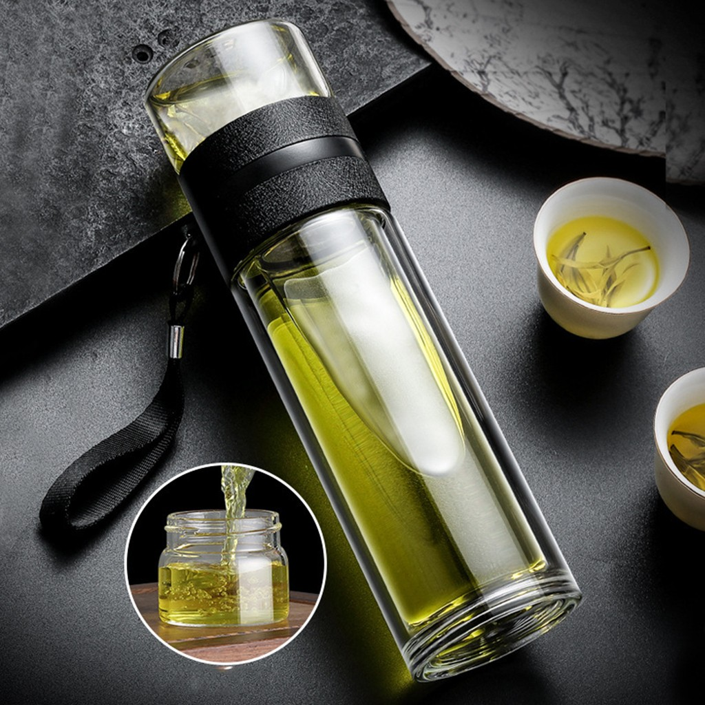 Glass Tea Bottle High Capacity Portable Double Wall With Stainless Steel Filter Cover Tea Water Separation бутылка для воды|Water Bottles|   - AliExpress