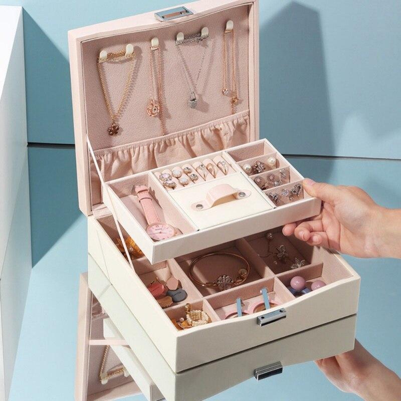 Portable voyage PU cuir bijoux boîte de rangement Double porte-bijoux boucle d'oreille collier plaque en cuir organisateur boîte