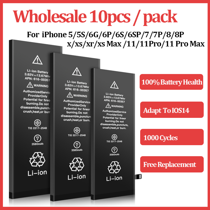 0 Bateria Cycles-Battery Max-Replacement 6plus Apple 6s SE for 6/7/8-plus/.. 11-Pro 10pcs/Lot