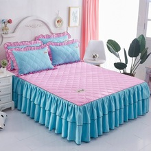 Fashion Bed Skirt Thickened Double Lace Bed European Style Pure Color Bedspread Bed Skirt King Size Fitted Sheet