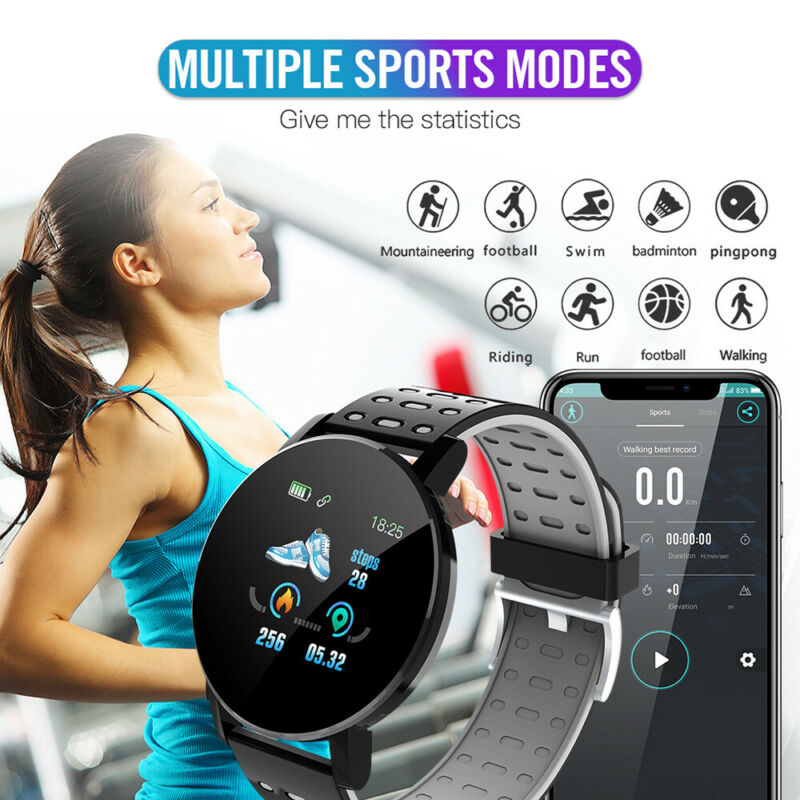2020 New 119 Plus Smart Watch Bracelet Men Women Kids Activity Tracker Pedometer Step Counter Fitbit Sport Watch For Android IOS